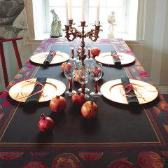 Ekelund瑞典爱蔻莱 黑色纯棉桌布 欧式餐台布正方形长方形北欧茶几布石榴带框图片