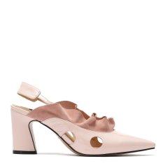 【Designer Shoes】BENATIVE/本那2018年春夏新款镂空尖头高跟凉鞋 舒适大气软皱漆皮搭配反绒羊皮穆勒鞋BN01814059图片