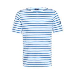 Saint James/圣杰姆  圆领女士短袖T恤男女同款 全白底天蓝条图片