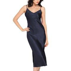 【DesignerWomenwear】LILYSILK/莉莉秀客女睡衣/家居服]22姆米真丝蕾丝睡裙性感桑蚕丝女士睡衣中长款春丝绸睡裙图片
