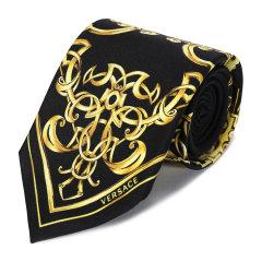 VERSACE/范思哲男士黑色+金色100%桑蚕丝领带图片