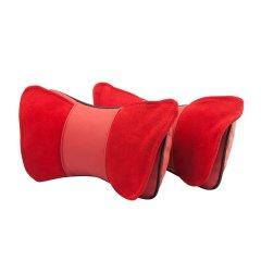 NATU  汽车牛皮磨砂头枕护颈枕四季通用车载头枕车用枕头汽车用品磨砂橙色一对图片