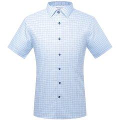 CAMICISSIMA/恺米切男士短袖衬衫修身纯棉蓝色格子商务免烫衬衣图片
