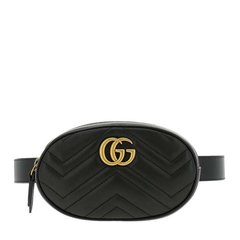 GUCCI/古驰 20年秋冬 GG Marmont系列绗缝皮革腰包 女性 GG Marmont系列 黑色 腰包 476434 DSVRT 1000图片