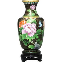 北京市珐琅厂 铜胎掐丝珐琅 10寸三线桶子瓶图片
