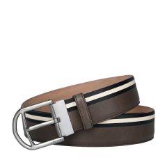 【包税】Bally 巴利 【18新品】男士棕色经典条纹皮质时尚休闲针扣皮带腰带图片