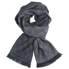 【18秋冬款】GUCCI/古驰 双G提花图案流苏边针织羊毛围巾# 133483 3G200图片