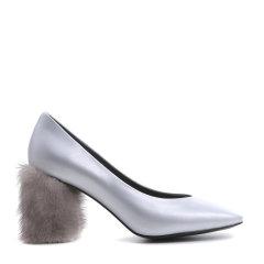 【17春夏】BENATIVE/本那   丝绸质感皮质拼接方头高跟鞋BN01643795图片