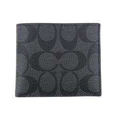 【包税】COACH/蔻驰 男包短款钱包 66551pvc黑灰色 均码图片