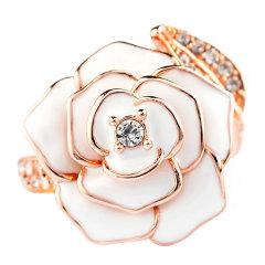juju palais royal/juju palais royal 925銀 玫瑰 时尚水钻珐琅戒指图片