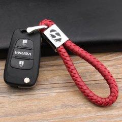 pinganzhe 现代专用汽车新款带车标钥匙扣 手编织真牛皮钥匙链 钥匙圈锁匙环 男士女士 创意 汽车用品图片