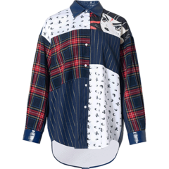 【DesignerWomenwear】MUKZIN/密扇条纹格子衫哪吒原创设计拼接长袖卡通印花秋冬上衣女女士长袖衬衫1E7229801图片