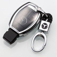 pinganzhe 汽车透明软胶专用于奔驰C200l GLA200glk GLC260GLE级B180A级汽车钥匙包扣壳套 送两个牛皮钥匙链图片