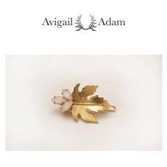 Avigail Adam美国纽约手工制造艺术风格首饰品牌女式Lian系列无花果叶造型宝石弹簧夹Lian Barrette图片