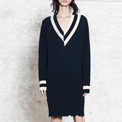 MO&Co./摩安珂女士连衣裙MOCO2017秋季新品复古撞色边V领毛织剪边连衣裙MA173DRS303图片