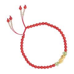 WENLI/雯莉珠宝  硬金系列腕饰 女士沙丁级红珊瑚配3D硬金 999足金 貔貅手链 转运珠手串图片