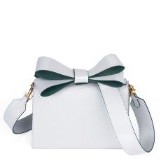 IAMNOT/IAMNOT【定制】牛皮女士Designer Bags蝴蝶结小方包宽肩带单肩斜挎手拎包头层牛皮包包图片