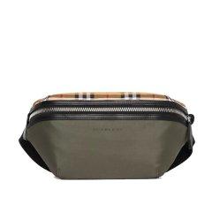 【奢品节可用券】BURBERRY/博柏利18秋冬新款男士中号 Vintage 格纹拼尼龙腰包(双色可选)黑色图片