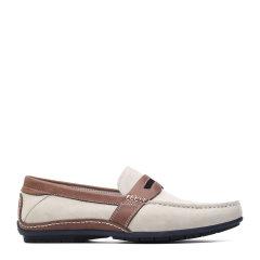 S.T. DUPONT/都彭 牛皮日常休闲懒人套脚男士乐福鞋 G21147010 白色/啡色 38图片
