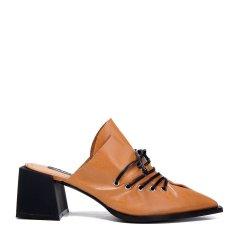BENATIVE/本那2018春夏新品高跟穆勒鞋女士凉拖  简约时尚系带羊皮尖头方跟拖鞋图片