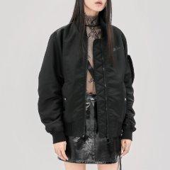 MO&Co./摩安珂女士夹克MOCO2018秋季新品运动风抽褶袖棒球服外套MA183JKT103图片