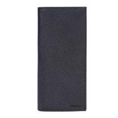 PRADA/普拉达男士黑色牛皮十字纹长款对折钱包2MV836053图片