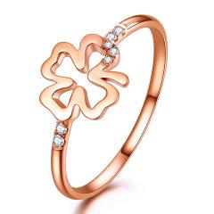 DEMONE/黛慕妮  18K金钻石 戒指四叶草钻戒钻石女戒结婚戒指图片