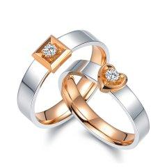 Magifas/Magifas【定制】 两情相悦 双色18K金情侣钻石戒指对戒 订婚结婚戒指 工期约20天男款 (单件) 21号图片