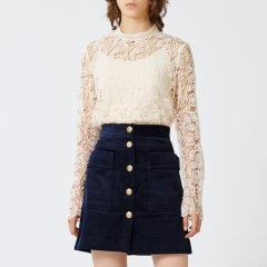 MO&Co./摩安珂女士长袖衬衫性感小立领镂空蕾丝针织钩花长袖上衣MA173TOP202图片