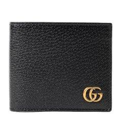 GUCCI古驰 GGMarmont系列男士牛皮双G金属徽标双折卡包短款钱包棕色 黑色 黑色黑色图片