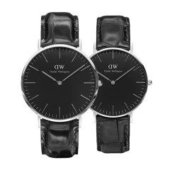 Daniel Wellington/丹尼尔惠灵顿DW欧美进口简约时尚黑盘皮质表带石英情侣对表图片