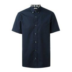 【包税】BURBERRY 博柏利 男士珍珠母贝领尖扣格纹装饰棉质短袖衬衫图片
