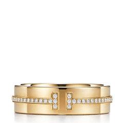 Tiffany & Co./蒂芙尼 T系列宽版18K金镶钻T Two戒指图片