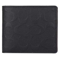 COACH/蔻驰 男士Saffiano皮革短款钱包  75371(黑色包内划痕瑕疵)图片