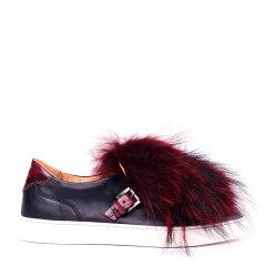 SANTONI/圣东尼 女士牛皮毛绒平跟鞋图片