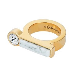 Galtiscopio/迦堤 戒指横版天然石金色银色52号 轻奢女士指环图片