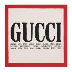 GUCCI/古驰 18秋冬新款女士象牙色Gucci城市印花真丝丝巾图片