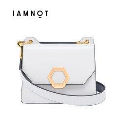 IAMNOT/IAMNOT【定制】牛皮女士原创双面包拼色宽肩带单肩斜挎翻盖包通勤时尚包包图片