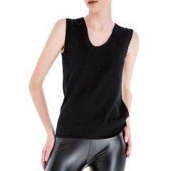 Zynni Cashmere/臻尼羊绒女士针织衫/毛衣黑色精纺纯绒无袖背心 3262A图片