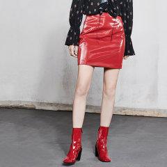 MO&Co./摩安珂女士半身裙2018春季新品亮面漆皮侧拉链半身裙迷你短裙MA181SKT001图片