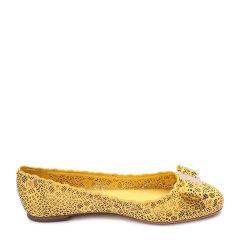 Salvatore Ferragamo/菲拉格慕黄色牛皮材质镂空元素蝴蝶结装饰女士平跟鞋平底单鞋,C版,01I676VARINALC 630551 006 FLAT SHOE 5.5图片