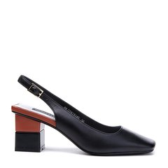 BENATIVE/本那2018春夏新品 简约一字搭扣粗跟方头凉鞋 女士高跟鞋图片