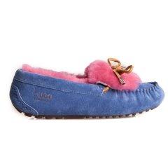 【澳洲直邮】Everugg澳洲雪地靴品牌 翻毛撞色一脚蹬柔软蝴蝶结羊毛豆豆鞋女鞋子11654图片
