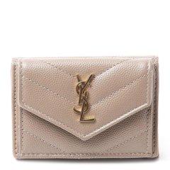 SAINT LAURENT PARIS/圣罗兰 女士牛皮LOGO标识衍缝短款钱包钱夹图片