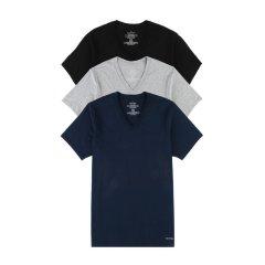 【包税】Calvin Klein/卡尔文·克莱因  男黑白V领main内衣T恤 3件组合装 M4065图片