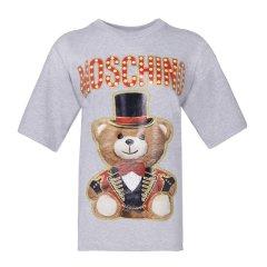 【包邮包税】 Moschino 莫斯奇诺 19新款 女士泰迪熊印花字母LOGO短袖半袖T恤连衣裙图片