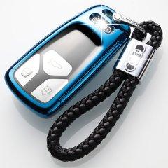 pinganzhe  新款透明软胶奥迪专用 A4L钥匙包 2018款奥迪A5Q7TT改装钥匙套男女保护壳包扣 送两个牛皮钥匙链图片