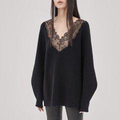 MO&Co./摩安珂女士针织衫/毛衣MOCO2018秋季新品V领套头蕾丝拼接羊毛衫MA183SWT307图片
