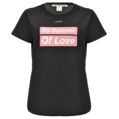 """Pinko/品高  棉质平纹针织字母印花T恤  正面配有系列标语字母印花,背面则采用""""Hollywood in Love""""字母印花图片"""