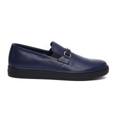 PRADA/普拉达 商务休闲时尚男士牛皮革织物休闲鞋一脚蹬黑色鞋单鞋 4D29063O9图片